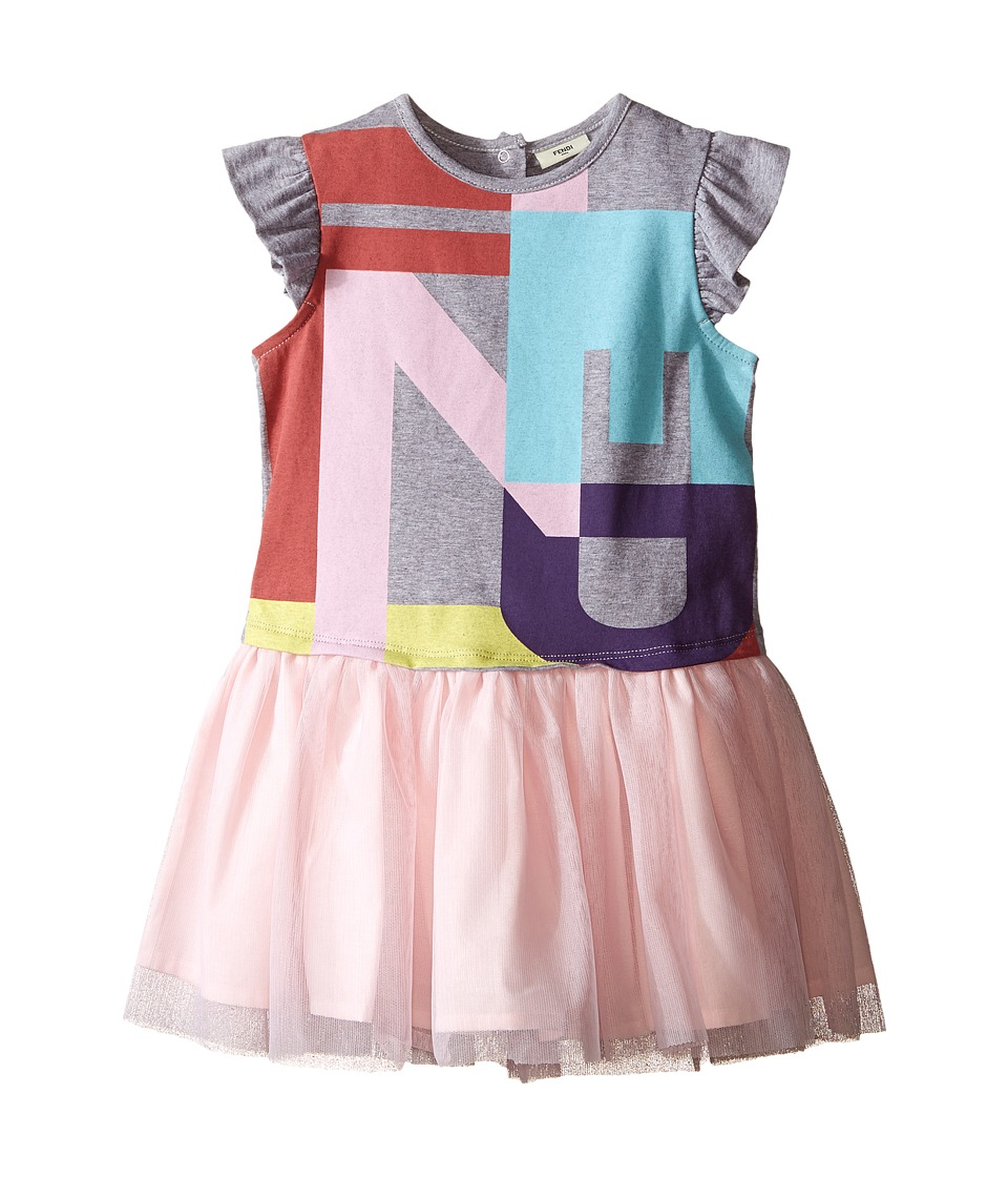 Fendi Kids - Short Sleeve Dress w/ Graphic Logo Tulle Skirt (Infant) (Grey) Girl's Dress