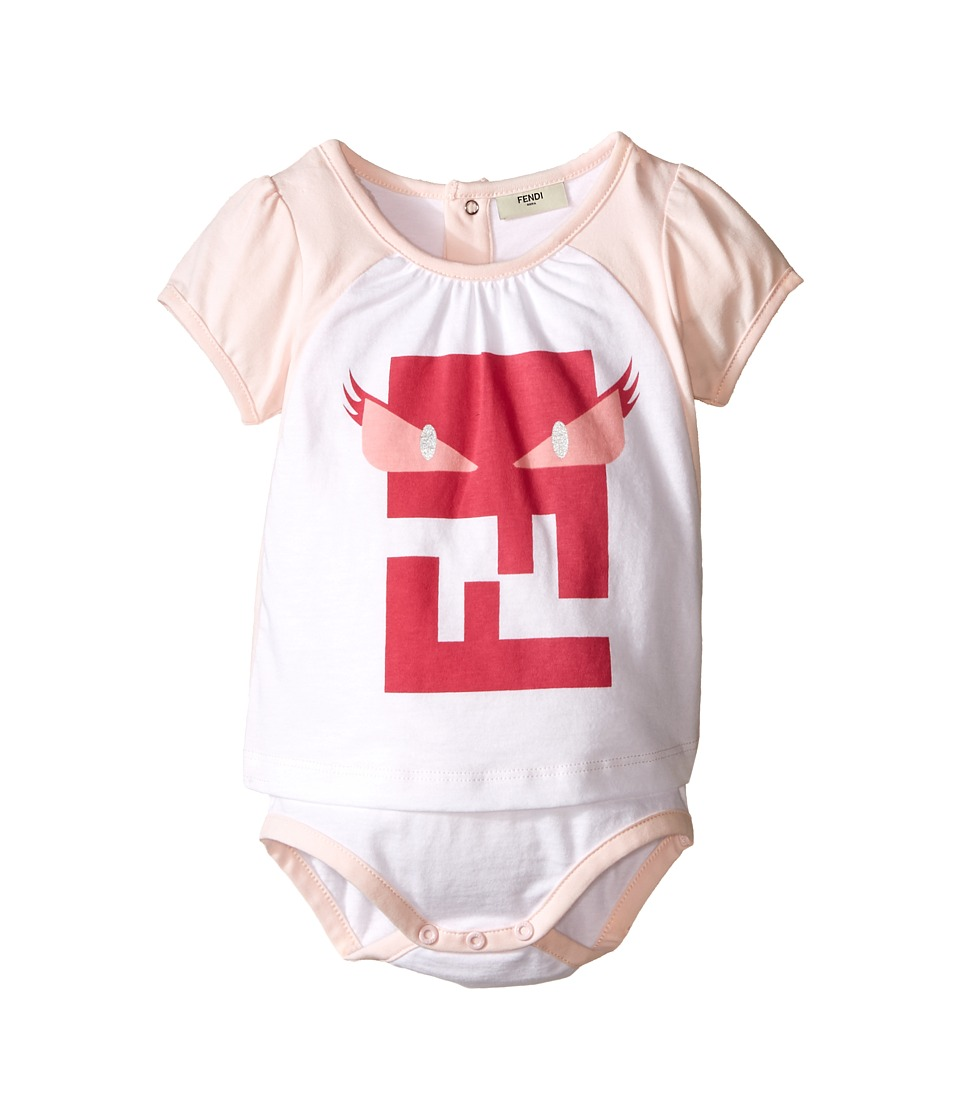 Fendi Kids - Short Sleeve Body Tee with Monster Logo (Infant) (White/Pink) Girl's Jumpsuit & Rompers One Piece