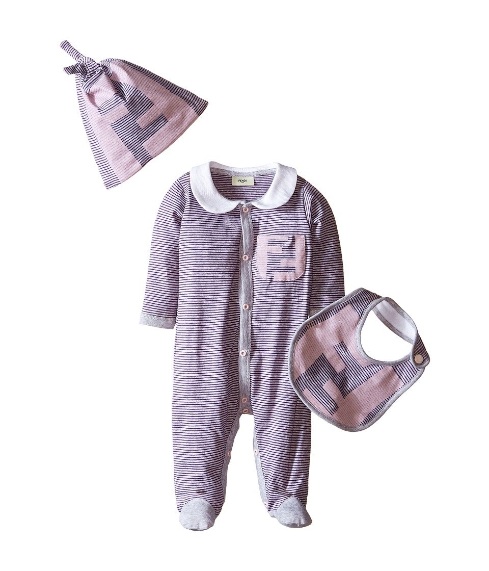 Fendi Kids - Logo Stripe Footie Bib Hat Set (Infant) (Pink) Girl's Jumpsuit & Rompers One Piece