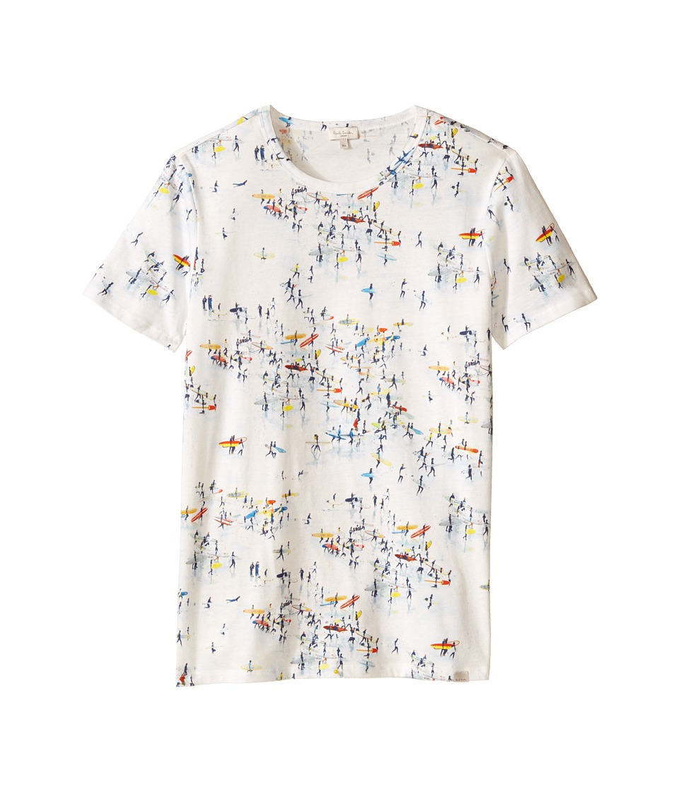 Paul Smith Junior - All Over Surfers On Beach Print Tee Shirt (Big Kids) (White) Boy's T Shirt