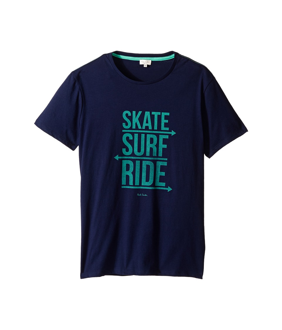 Paul Smith Junior - Skate Surf Ride Print Tee Shirt (Big Kids) (Marine Blue) Boy's Short Sleeve Pullover