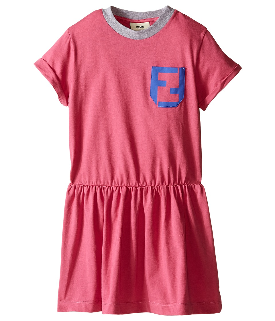Fendi Kids - Short Sleeve T-Shirt Dress with Logo Detail (Toddler) (Hot Pink) Girl's Dress