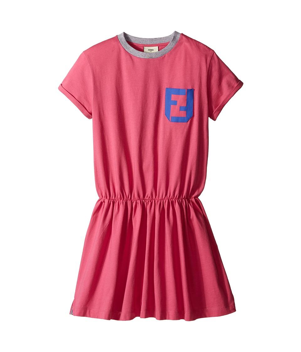 Fendi Kids - Short Sleeve T-Shirt Dress with Logo Detail (Little Kids) (Hot Pink) Girl's Dress