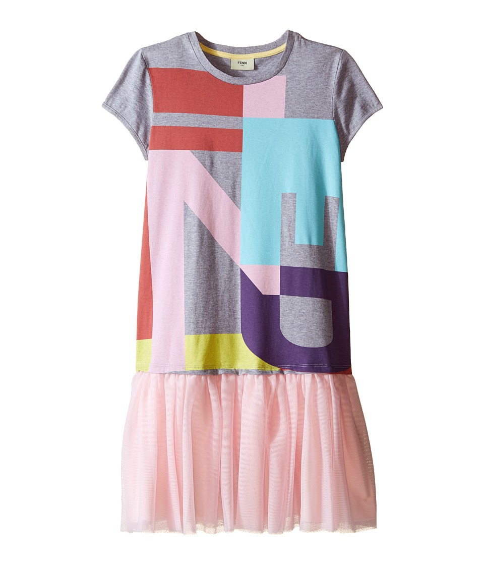Fendi Kids - Logo T-Shirt Dress with Tulle Detail (Big Kids) (Grey) Girl's Dress