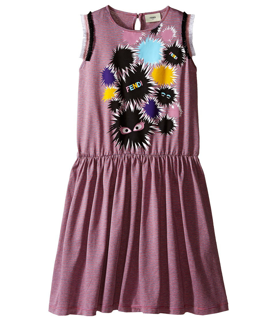 Fendi Kids - Striped Dress with Monster Graphic (Big Kids) (Pink/Grey) Girl's Dress