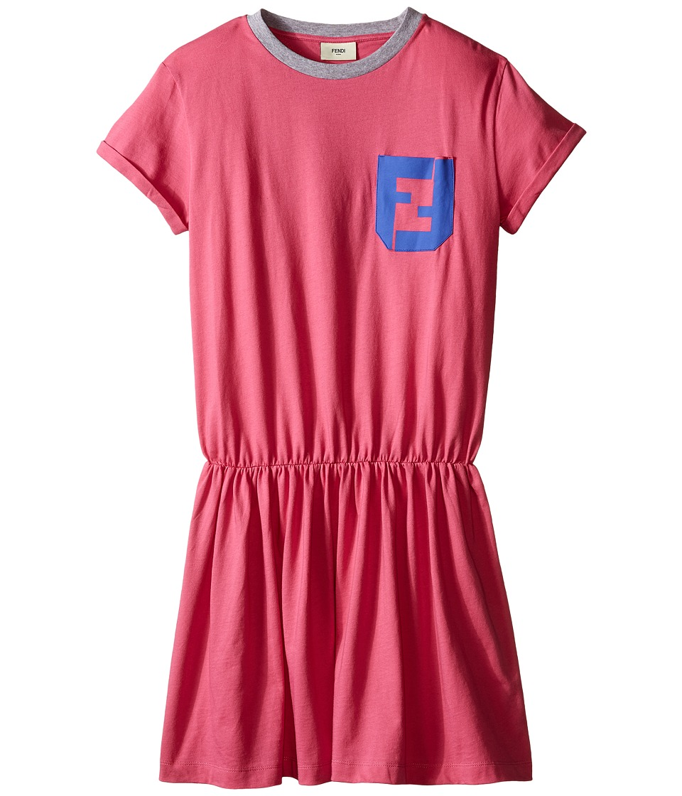 Fendi Kids - Short Sleeve T-Shirt Dress with Logo Detail (Big Kids) (Hot Pink) Girl's Dress