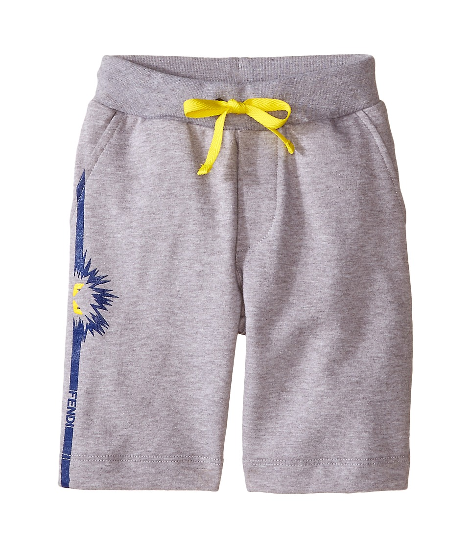 Fendi Kids - Sweat Shorts with Monster Detail (Toddler) (Grey) Boy's Shorts