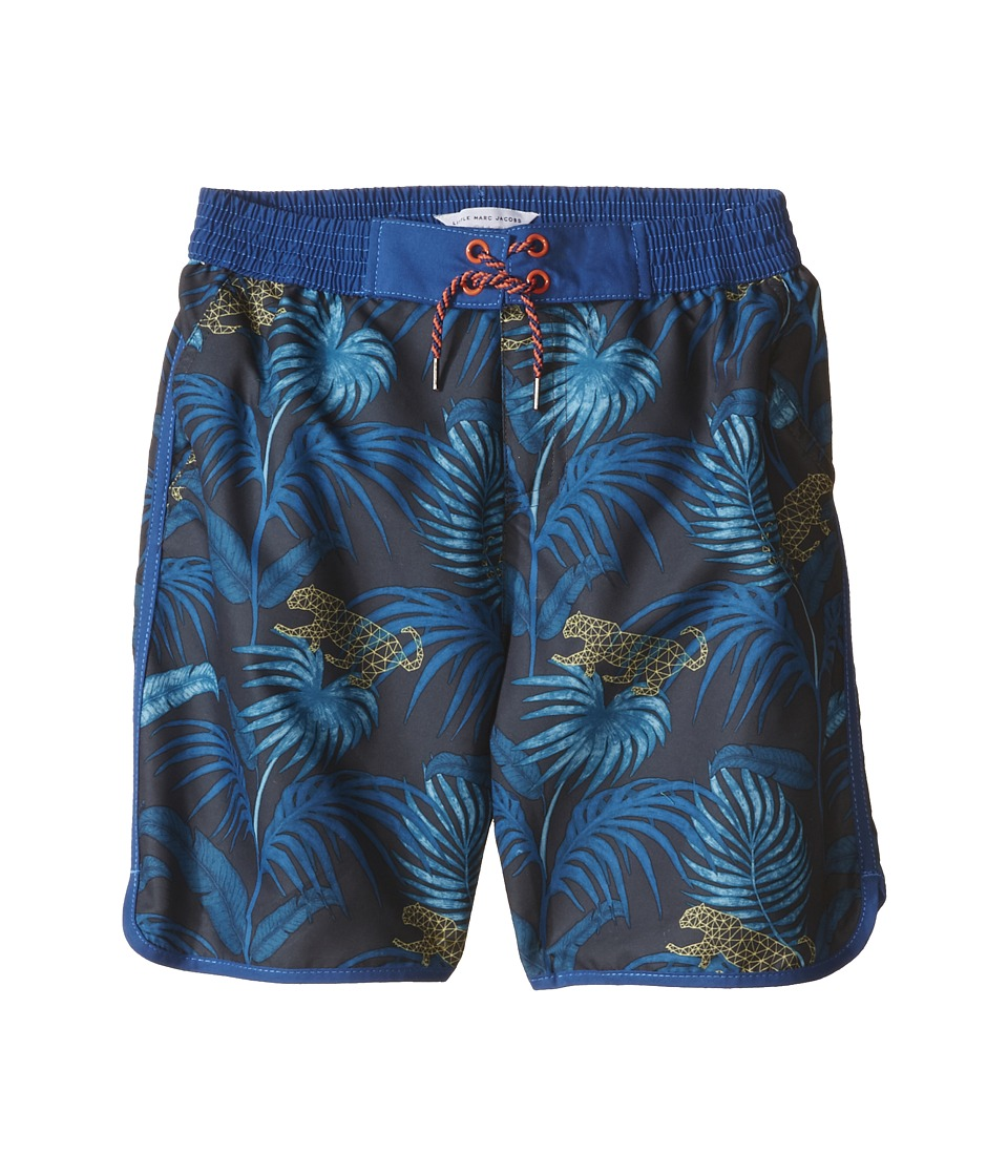 Little Marc Jacobs - Polyamide Swimsuit Twill Surfer (Toddler/Little Kids/Big Kids) (Blue Yellow) Boy's Swimwear