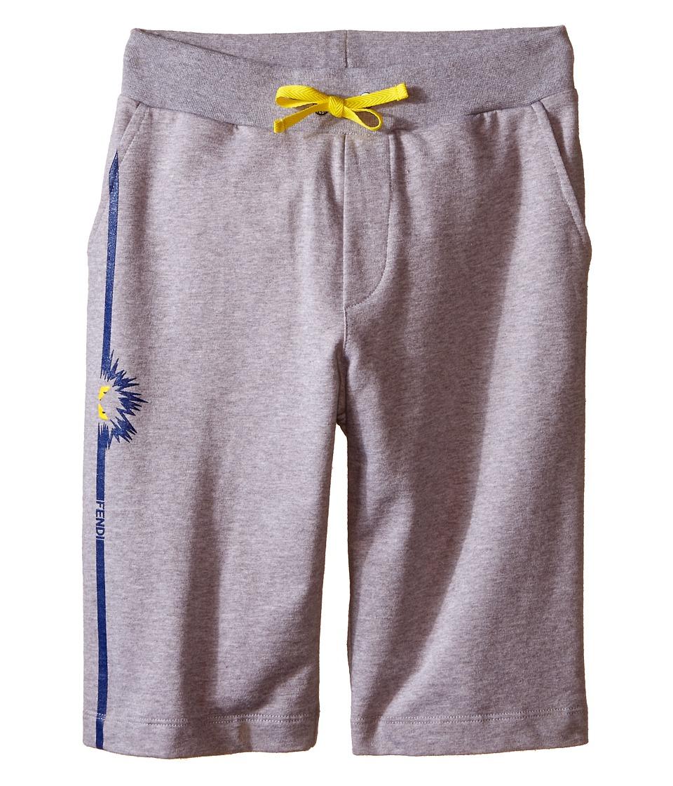 Fendi Kids - Sweat Shorts with Monster Detail (Big Kids) (Grey) Boy