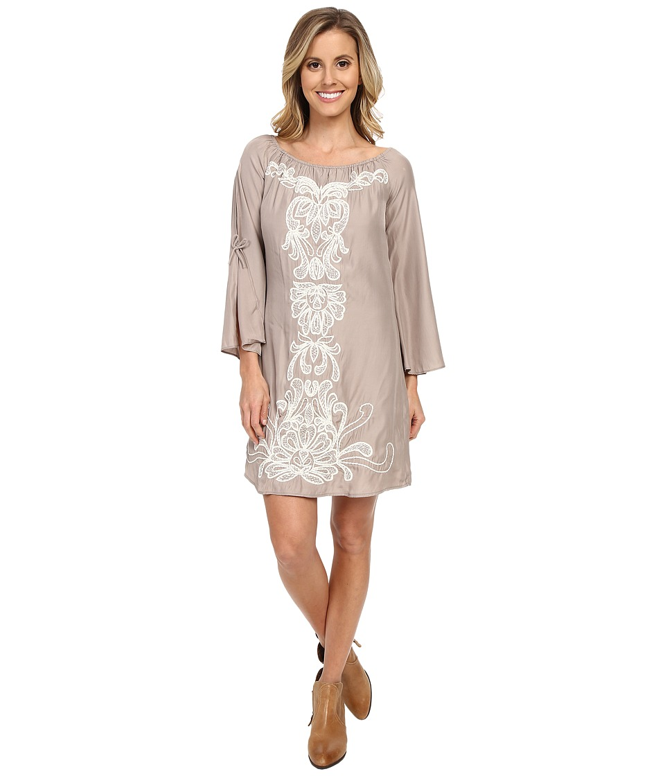 Union of Angels - Barbara Dress (Taupe/White) Women's Dress