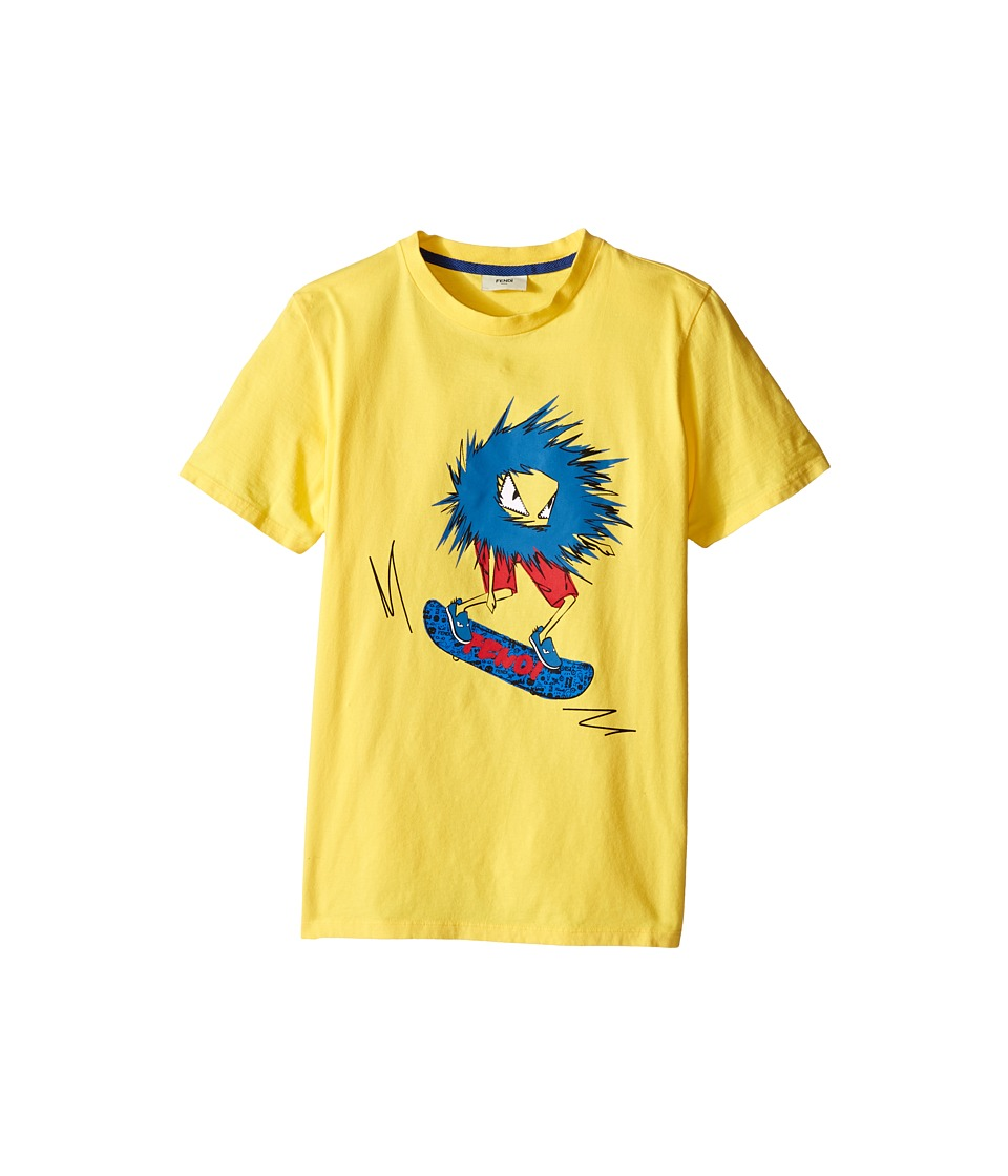 Fendi Kids - Short Sleeve T-Shirt with Fendi Skateboard Graphic (Big Kids) (Yellow) Boy's Short Sleeve Pullover