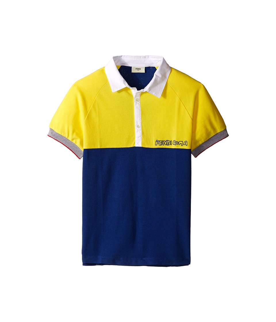 Fendi Kids - Short Sleeve Two-Tone Polo Shirt (Big Kids) (Yellow/Blue) Boy's Clothing