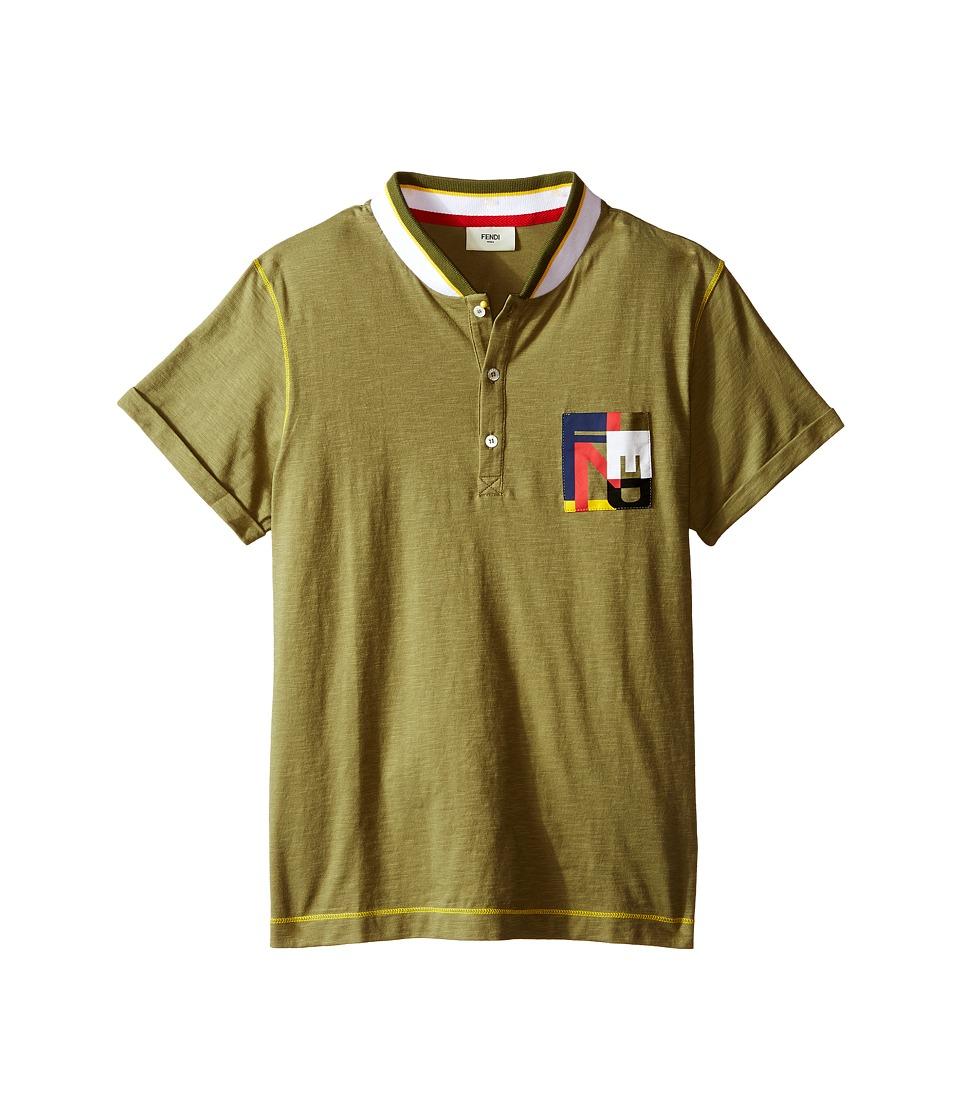 Fendi Kids - Short Sleeve Polo T-Shirt w/ Multicolor Logo Pocket (Big Kids) (Olive) Boy's Short Sleeve Pullover