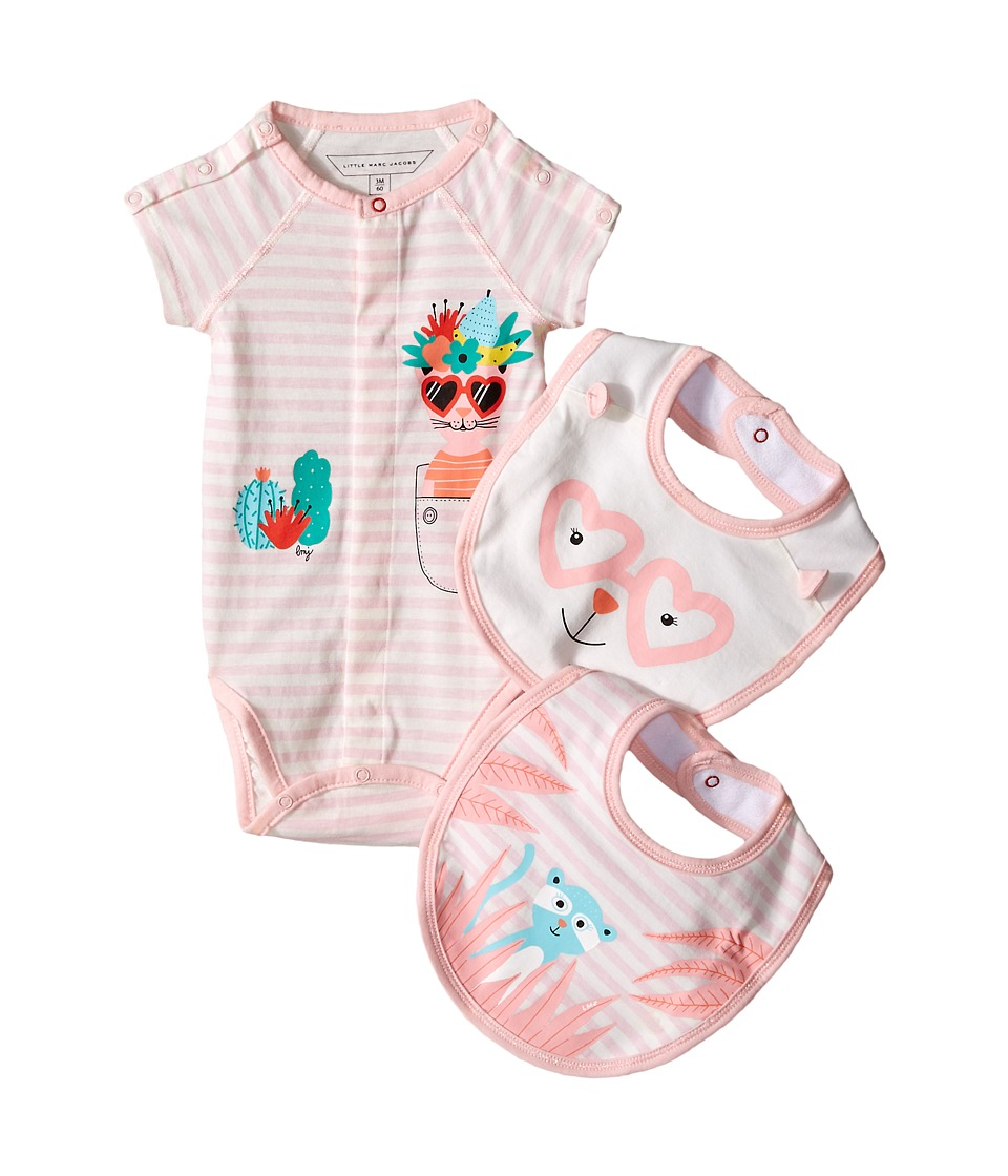 Little Marc Jacobs - Set of Jersey Bodysuit and Bibs (Infant) (Pink Beige) Girl's Jumpsuit & Rompers One Piece