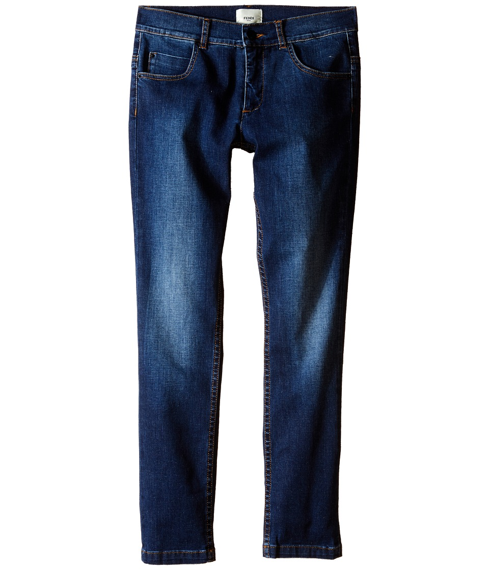 Fendi Kids - Denim Pants with Eye Patch Detail on Back Pocket (Big Kids) (Denim) Boy's Jeans
