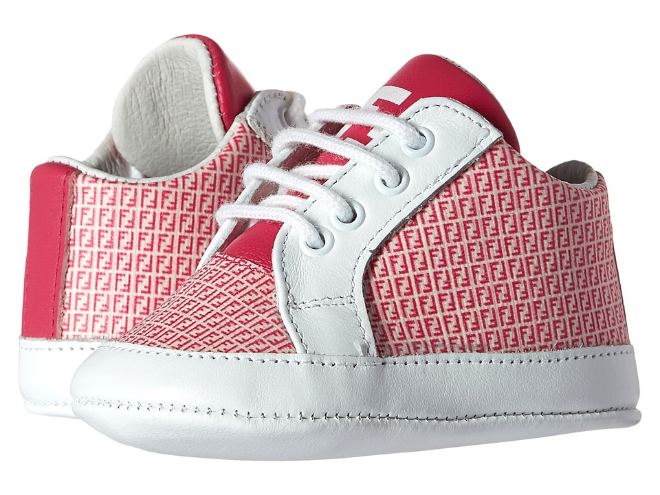 Fendi Kids - Lace-Up Crib Shoes w/ Logo Print (Infant) (Pink/White) Girls Shoes