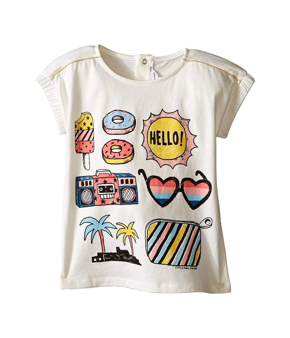Little Marc Jacobs - Jersey Tee Shirt with Mouse or Beach Supplies (Infant) (Off-White) Girl's T Shirt