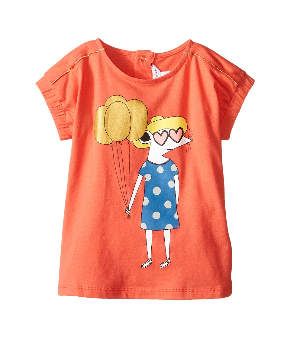 Little Marc Jacobs - Jersey Tee Shirt with Mouse or Beach Supplies (Infant) (Red) Girl's T Shirt