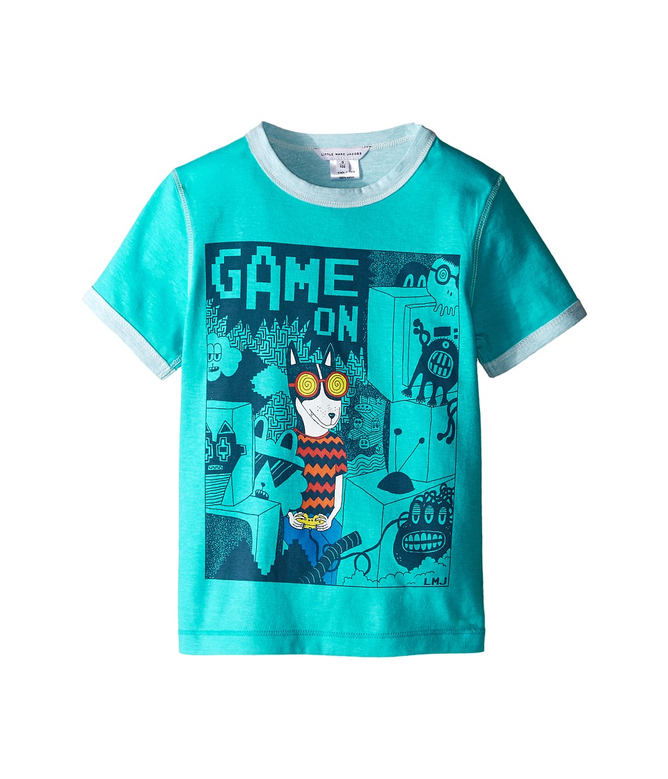Little Marc Jacobs - Reversible Jersey Tee Shirt Fancy Illustration (Toddler/Little Kids) (Blue) Boy's T Shirt
