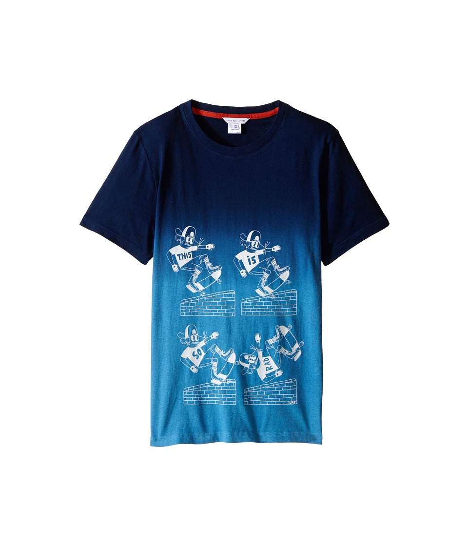 Little Marc Jacobs - Jersey Tee Shirt Dip Dye (Big Kids) (Dark Blue) Boy's T Shirt