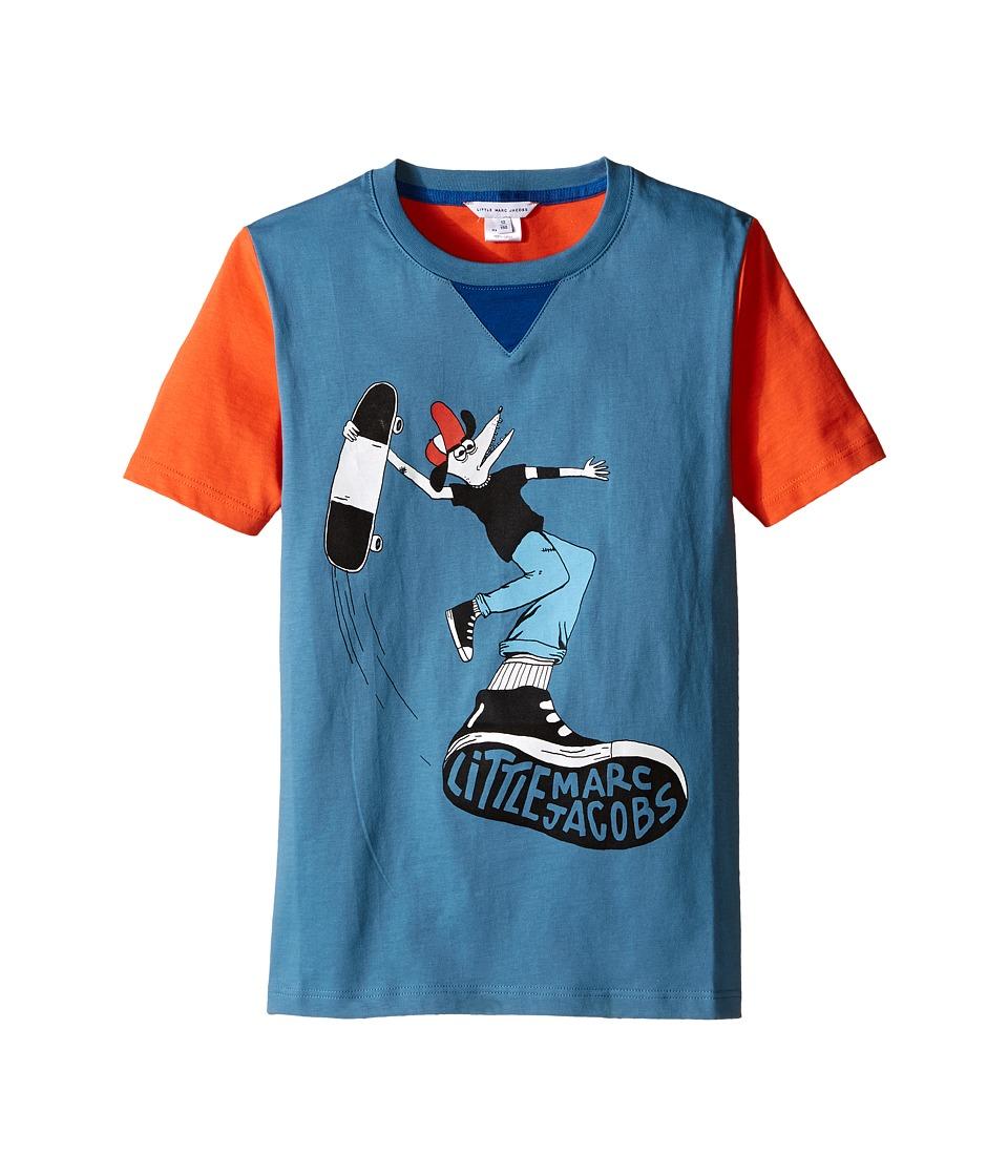 Little Marc Jacobs - Jersey Tee Shirt Fancy Crocodile On Front (Big Kids) (Blue/Red) Boy's T Shirt
