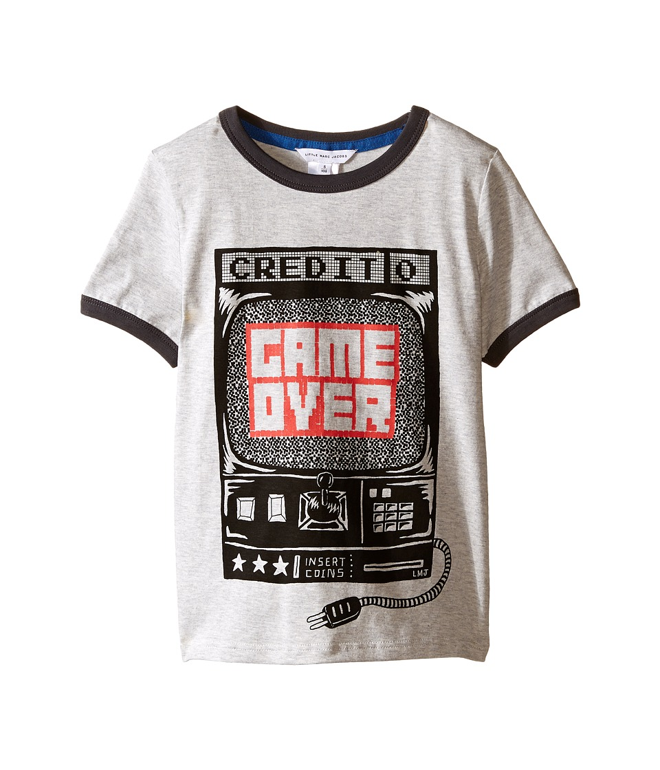 Little Marc Jacobs - Jersey Tee Shirt Game Over (Toddler/Little Kids) (Grey) Boy's T Shirt