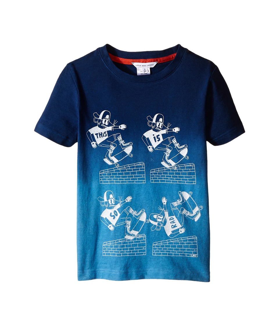 Little Marc Jacobs - Jersey Tee Shirt Dip Dye (Toddler/Little Kids) (Dark Blue) Boy's T Shirt