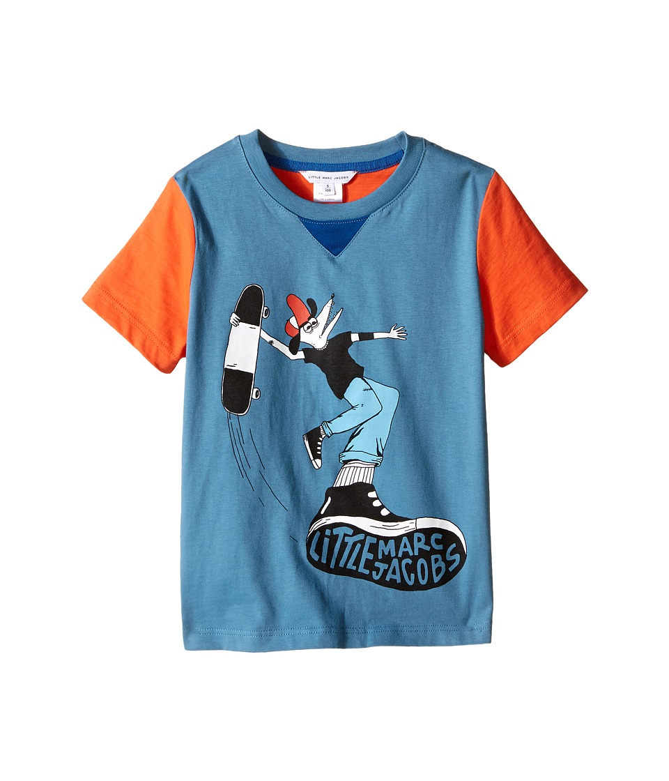 Little Marc Jacobs - Jersey Tee Shirt Fancy Crocodile On Front (Toddler/Little Kids) (Blue/Red) Boy's T Shirt