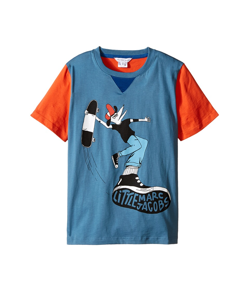 Little Marc Jacobs - Jersey Tee Shirt Fancy Crocodile On Front (Little Kids/Big Kids) (Blue/Red) Boy's T Shirt