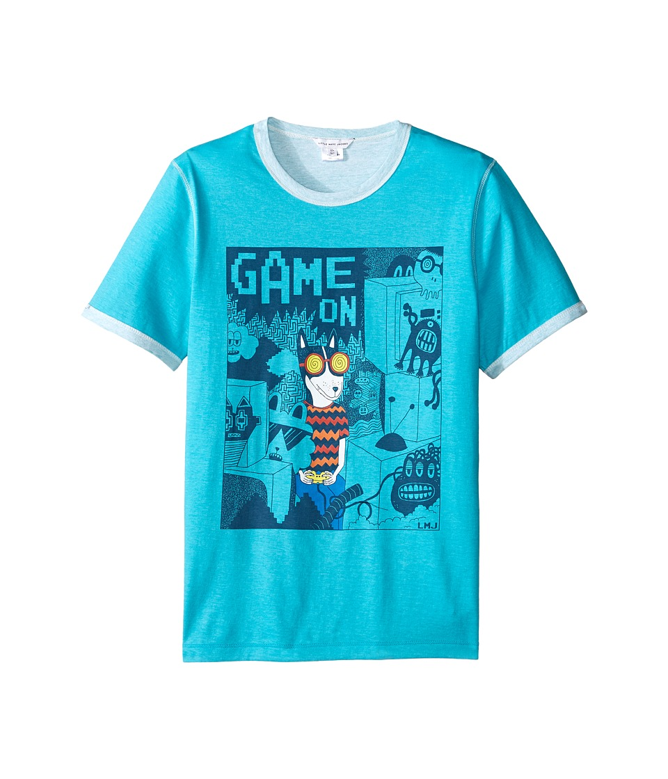 Little Marc Jacobs - Reversible Jersey Tee Shirt Fancy Illustration (Big Kids) (Blue) Boy's T Shirt