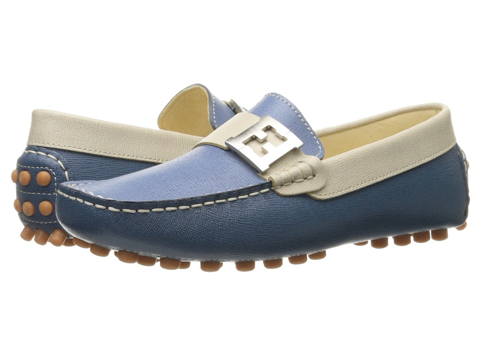 Fendi Kids - Color Block Moccasins w/ Logo Detail (Big Kid) (Blue/Multi) Boys Shoes