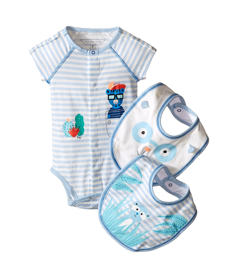 Little Marc Jacobs - Set of Jersey Bodysuit and Bibs (Infant) (Blue/Beige) Boy's Jumpsuit & Rompers One Piece