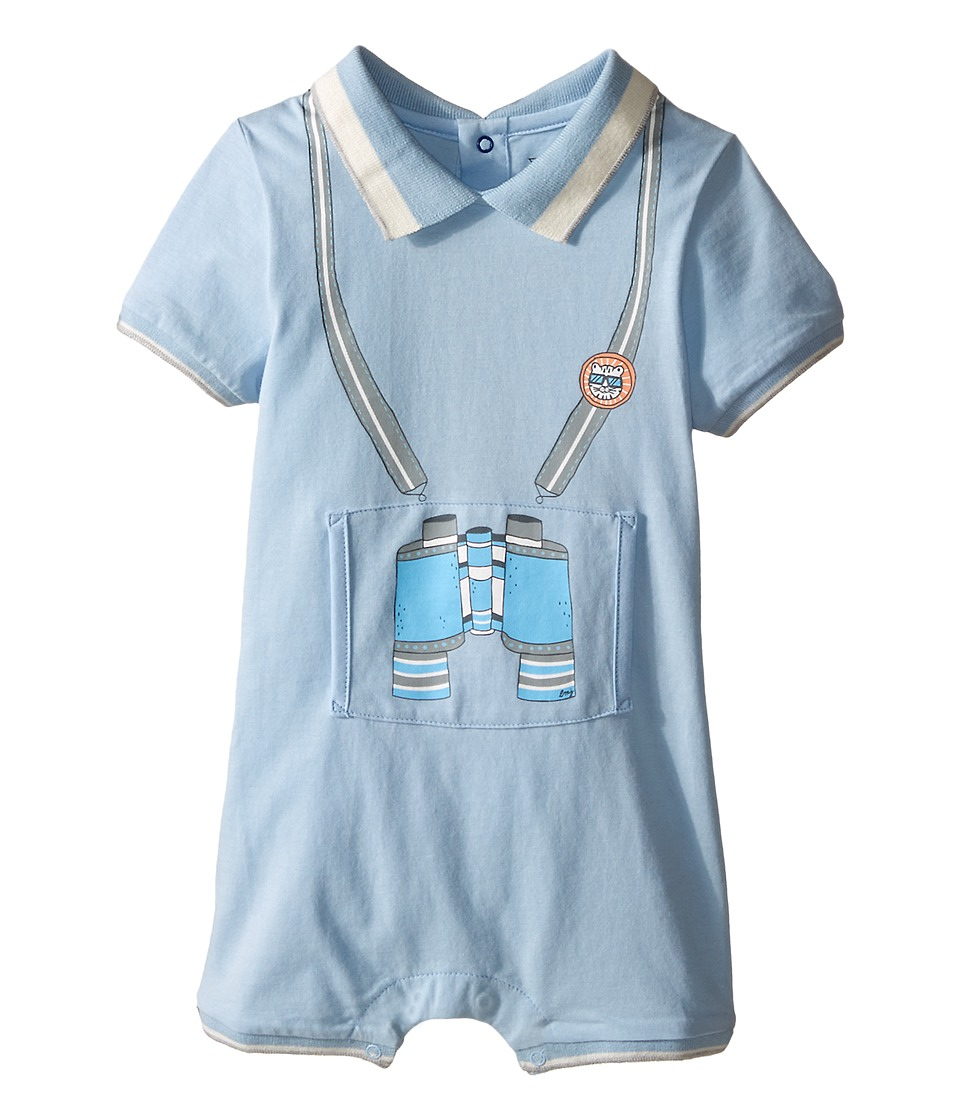 Little Marc Jacobs - Jersey Overall Bodysuit with Illustration In Front (Infant) (Light Blue) Boy's Jumpsuit & Rompers One Piece