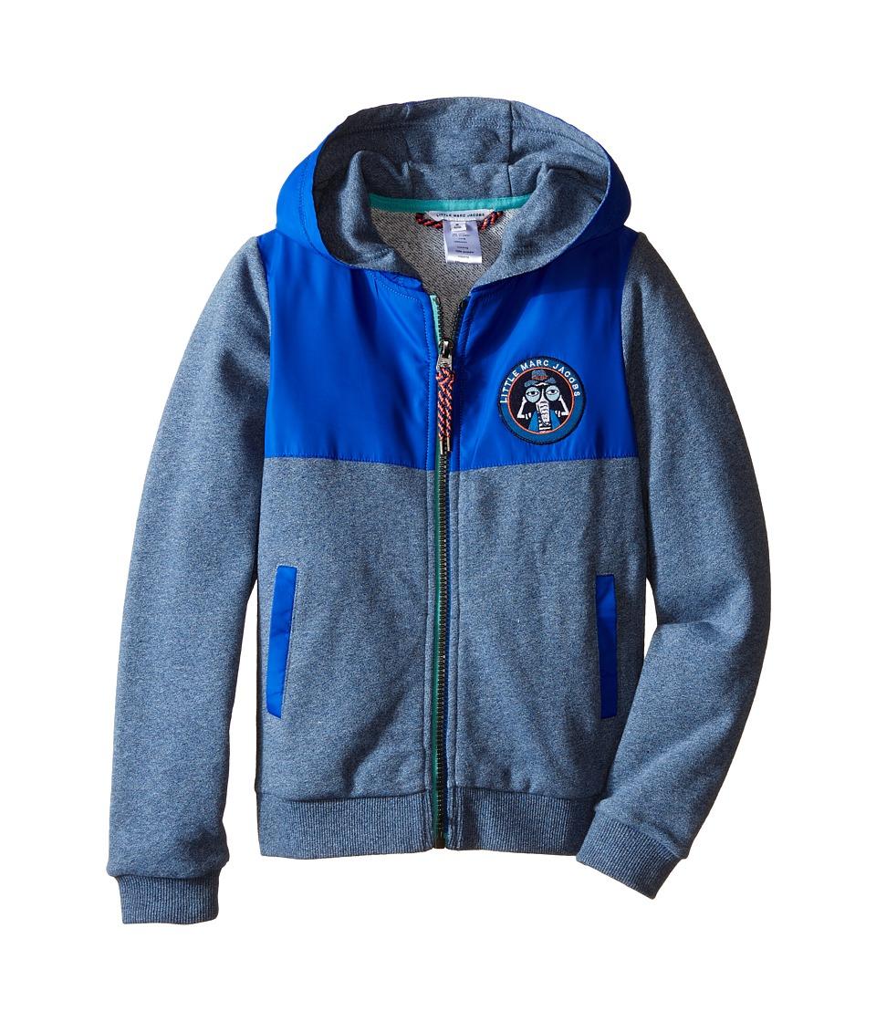Little Marc Jacobs - Fleece and Nylon Cardigan with Hood (Little Kids/Big Kids) (Medium Blue) Boy's Sweater