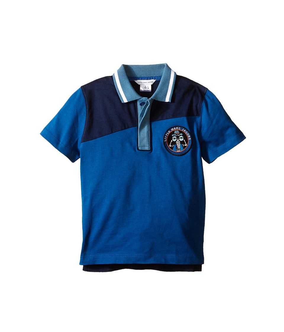 Little Marc Jacobs - Jersey Polo Shirt (Toddler/Little Kids) (Dark Blue) Boy's Short Sleeve Knit