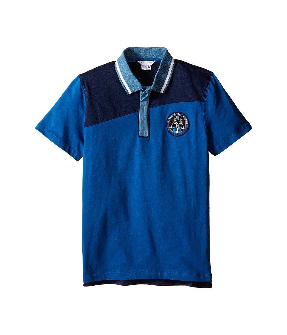 Little Marc Jacobs - Jersey Polo Shirt (Big Kids) (Dark Blue) Boy's Clothing
