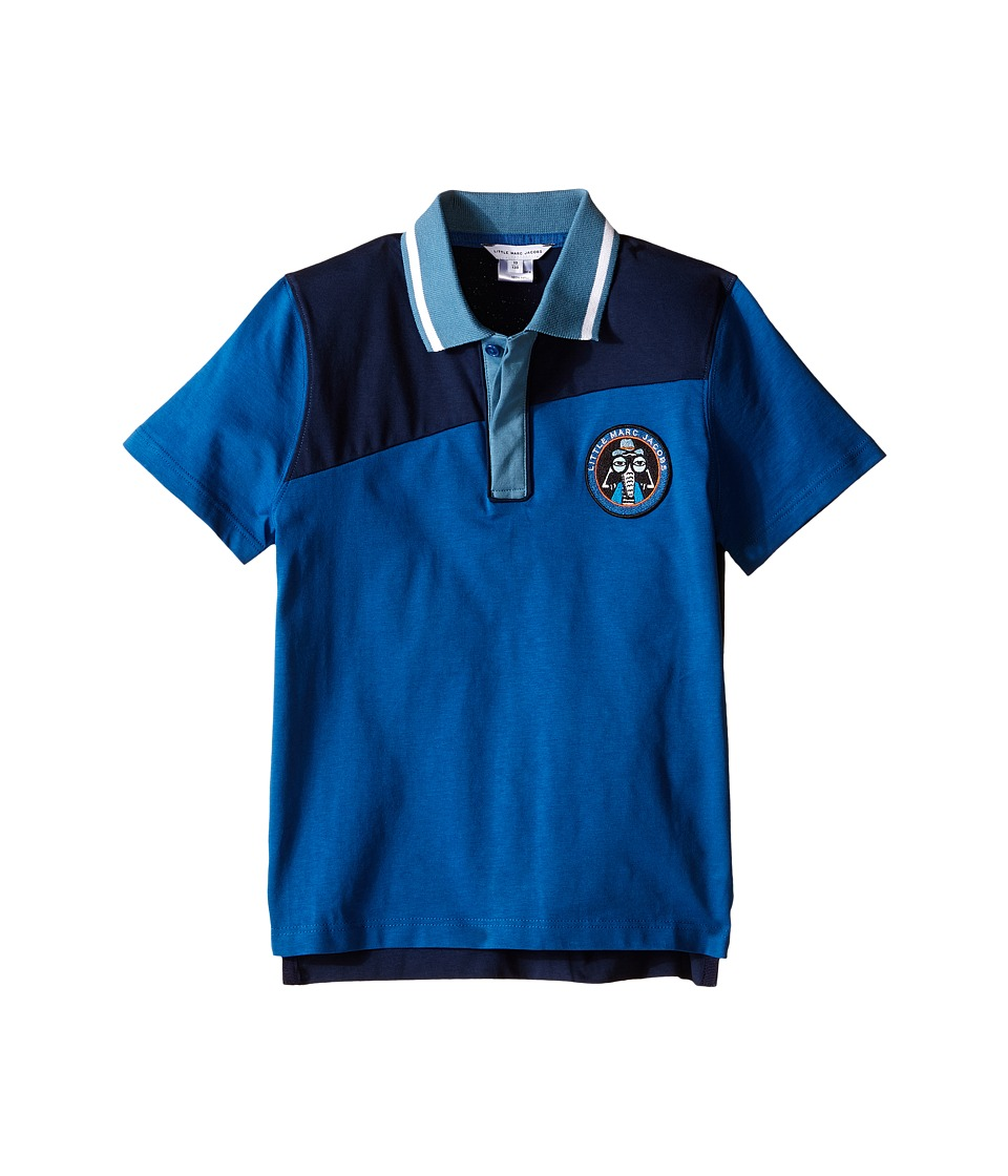 Little Marc Jacobs - Jersey Polo Shirt (Little Kids/Big Kids) (Dark Blue) Boy's Short Sleeve Knit