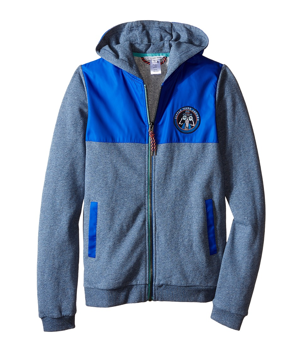 Little Marc Jacobs - Fleece and Nylon Cardigan with Hood (Big Kids) (Medium Blue) Boy's Sweatshirt
