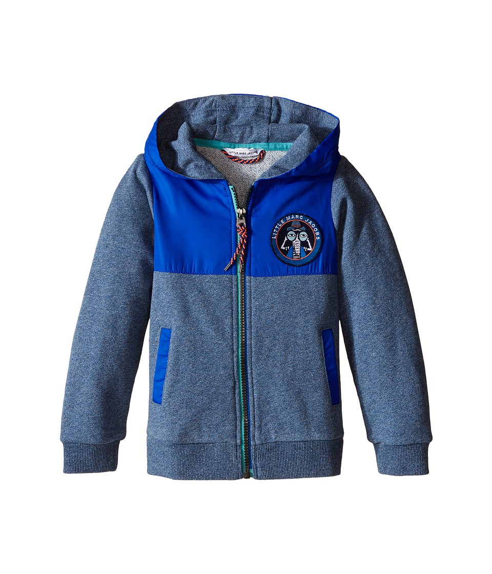 Little Marc Jacobs - Fleece and Nylon Cardigan with Hood (Toddler/Little Kids) (Medium Blue) Boy's Sweater