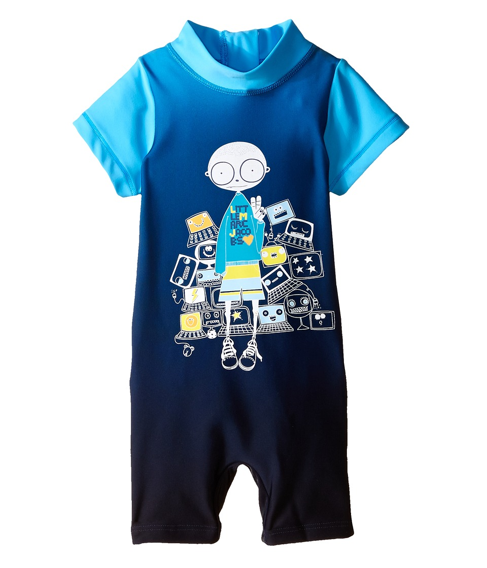 Little Marc Jacobs - Polyamide Overalls Short Sleeves (Infant) (Dark Blue) Boy's Overalls One Piece