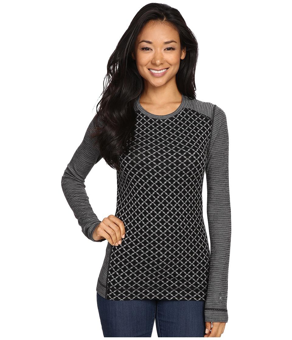 Smartwool - NTS Mid 250 Pattern Crew Top (Black/Light Gray Heather) Women's Long Sleeve Pullover