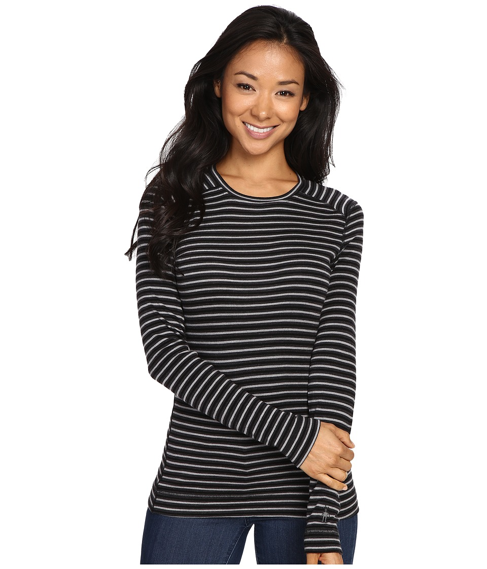 Smartwool - NTS Mid 250 Pattern Crew Top (Charcoal Heather/Black) Women's Long Sleeve Pullover