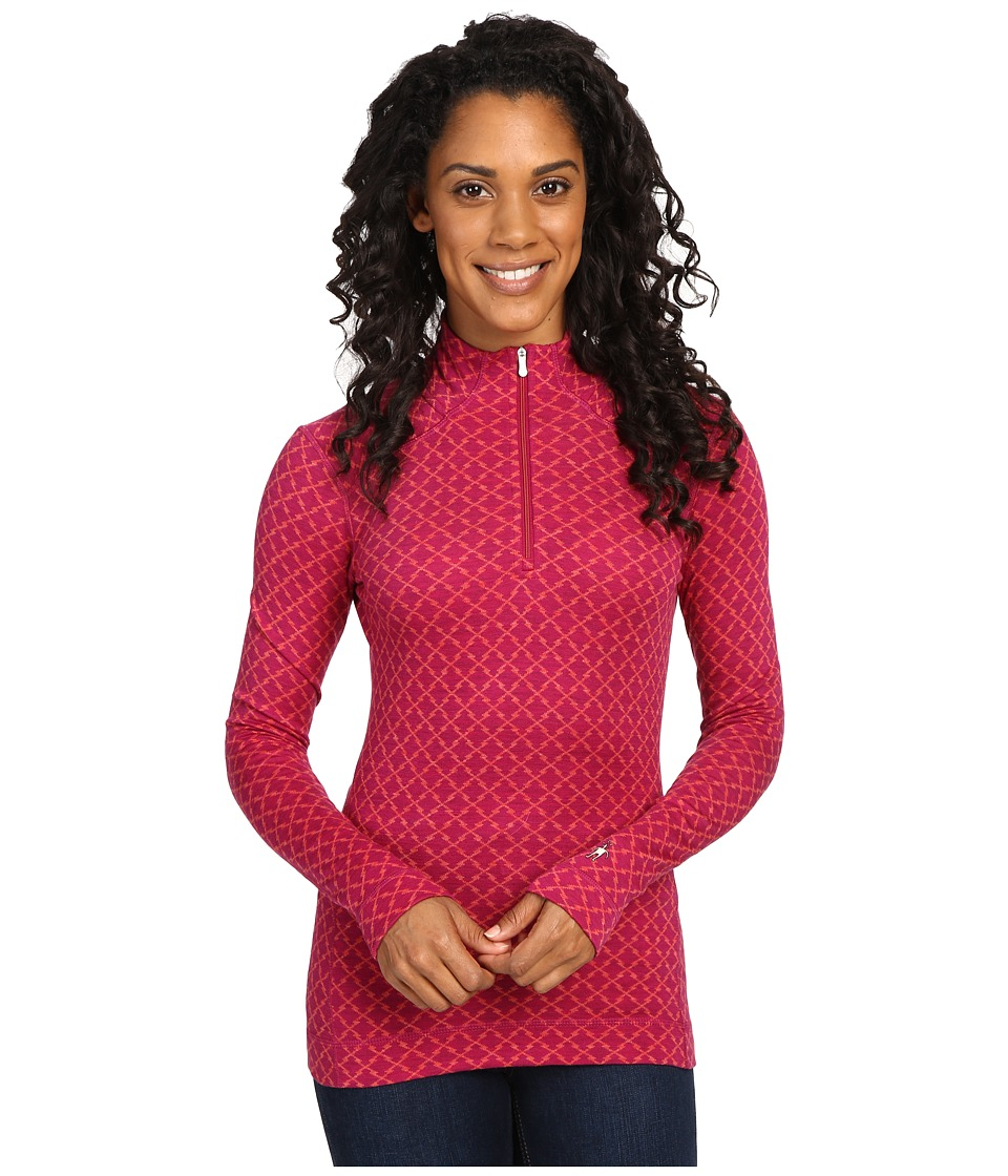 Smartwool - NTS Mid 250 Pattern Zip Top (Berry Heather) Women's Long Sleeve Pullover