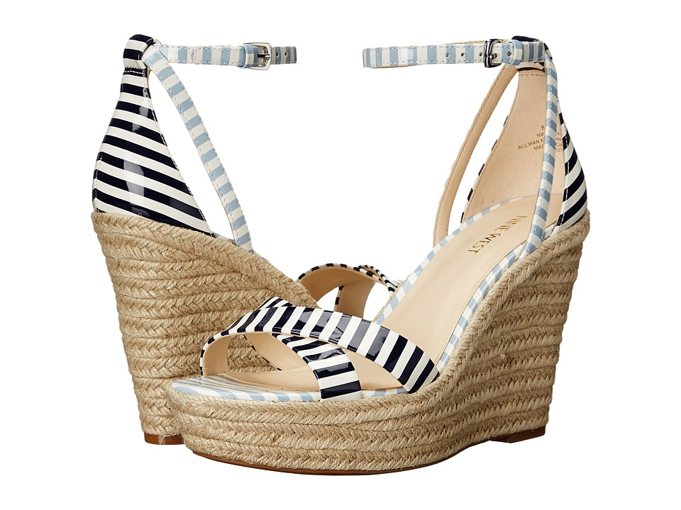 Nine West - Joker (White/Navy/White/Light Blue Synthetic) Women's Wedge Shoes