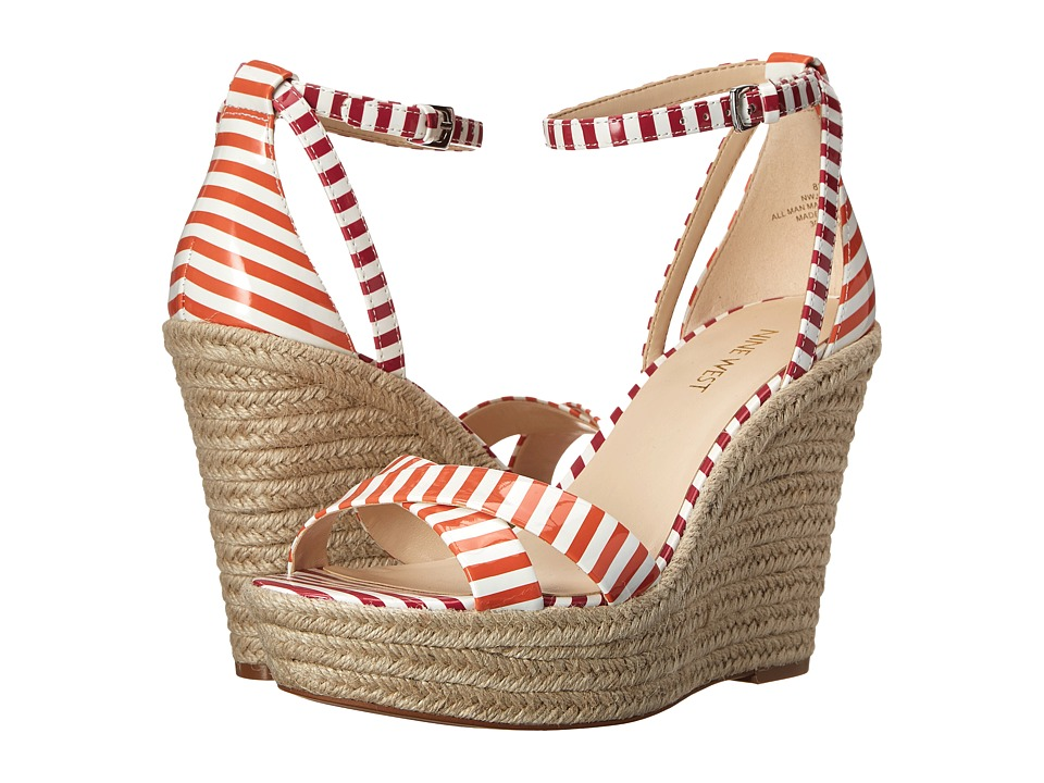 Nine West - Joker (White/Orange/White/Dark Pink Synthetic) Women's Wedge Shoes