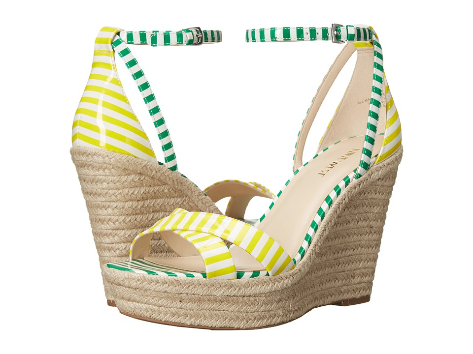 Nine West - Joker (White/Yellow/White/Green Synthetic) Women's Wedge Shoes