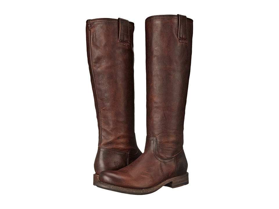 Frye - Jenna Inside Zip (Dark Brown Full Grain Leather) Women's Boots