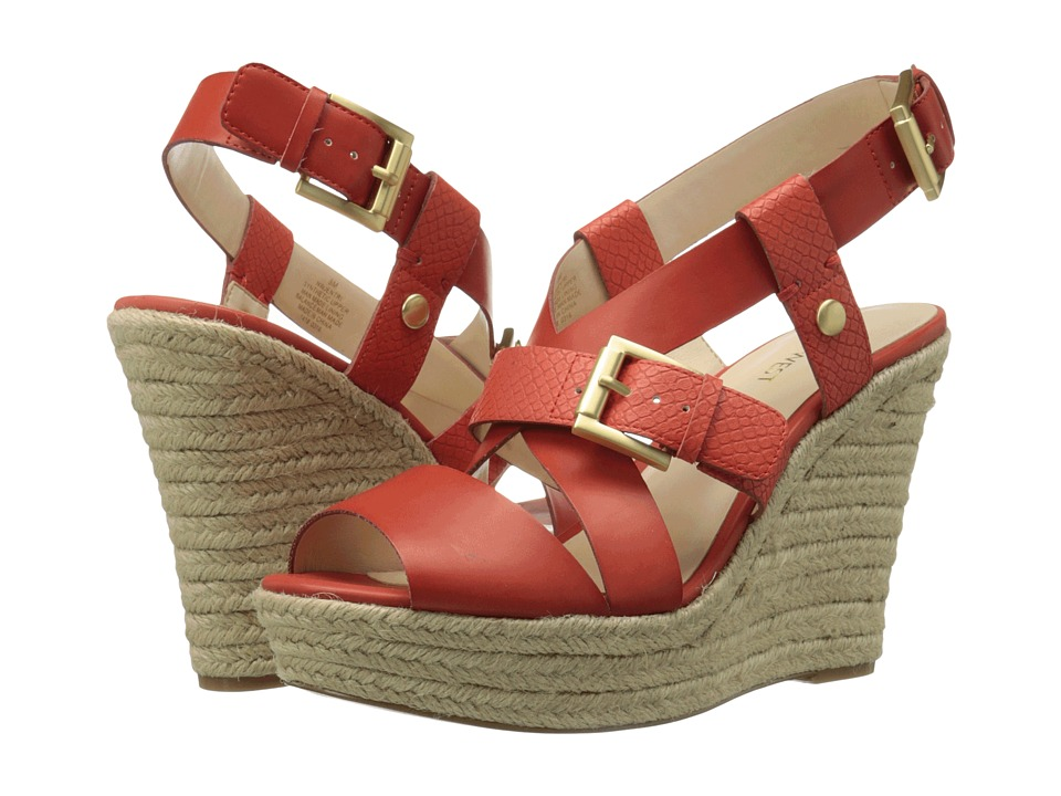 Nine West - Jentri (Red Orange Synthetic/Red Orange Synthetic) Women's Wedge Shoes