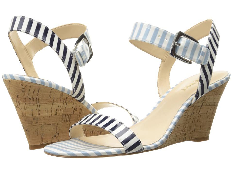 Nine West - Kiani3 (White/Navy/White/Light Blue Synthetic) Women's Wedge Shoes