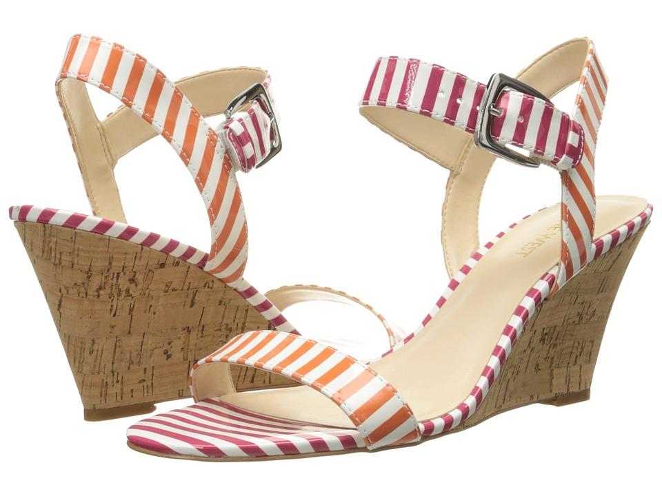 Nine West - Kiani3 (White/Orange/White/Dark Pink Synthetic) Women's Wedge Shoes